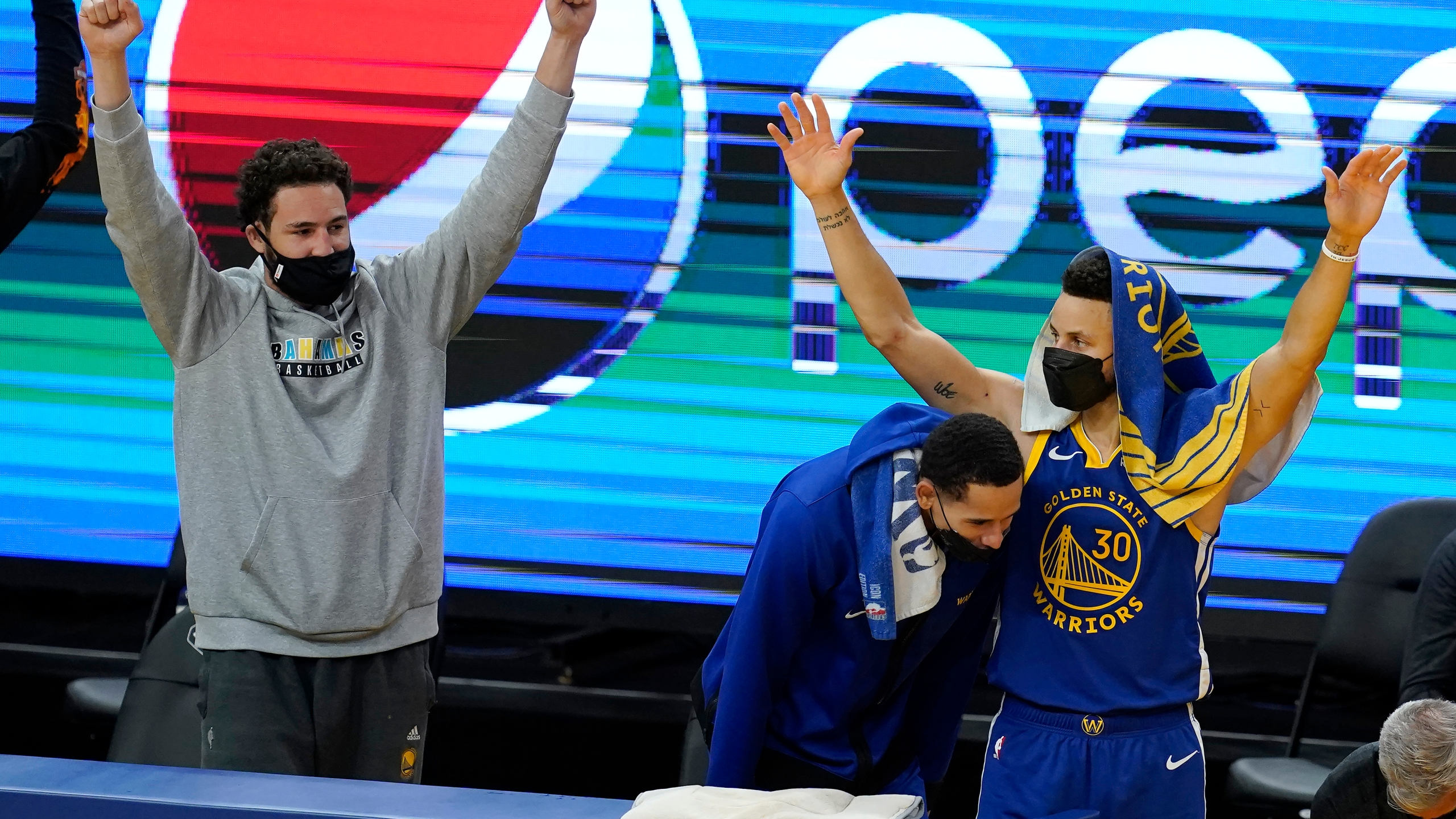 Stephen Curry, Klay Thompson, Juan Toscano-Anderson